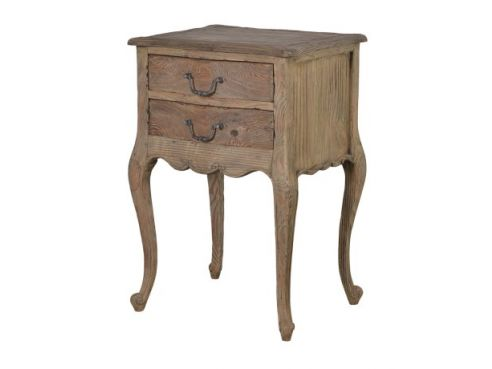 Colonial Reclaimed Pine 2 Drawer Bedside