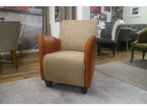 Haha Tub Chair-Orange Leather/Plain Fabric Mix