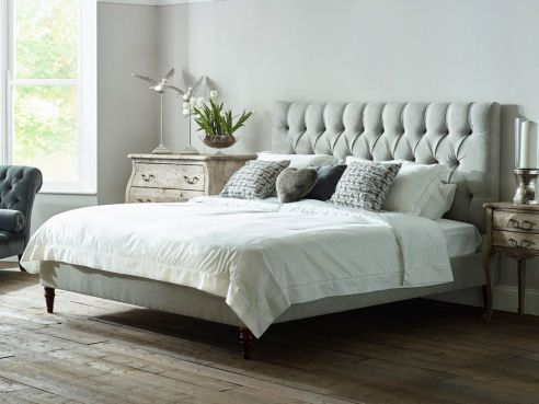 Lawrence King Size Bed-Silt Velvet