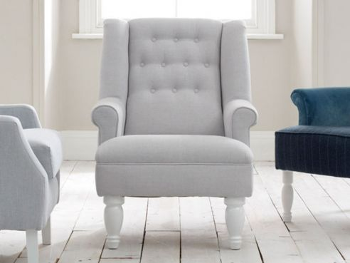 Bedroom Armchairs: Upholstered Fabric Chairs, Studded & Cushioned
