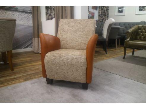 Haha Tub Chair-Leather Fabric Mix