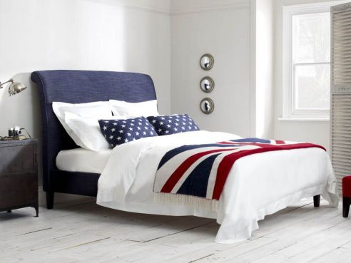 Keats King Size Headboard-Senna Navy
