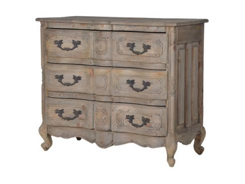 Colonial Reclaimed Pine Shaped 3 Drawer Chest